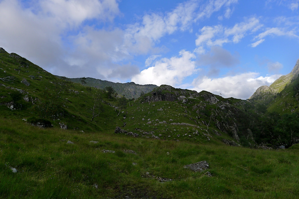 Looking up from the gorge to the Knoydart hills