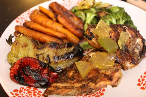 Grilled Chicken Breast with Roasted Carrots, Broccoli, Grilled Peppers, and Pickled Watermelon Rind