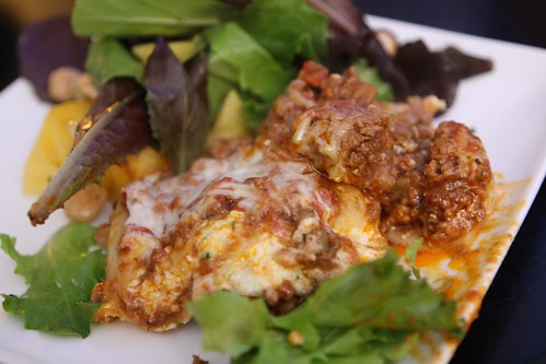 Salad and Lasagna Bolognese