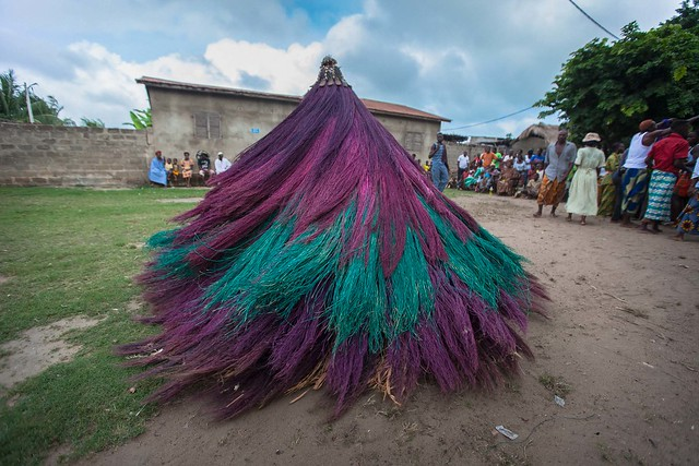 vodoo mask Zangbeto, in the village in togo