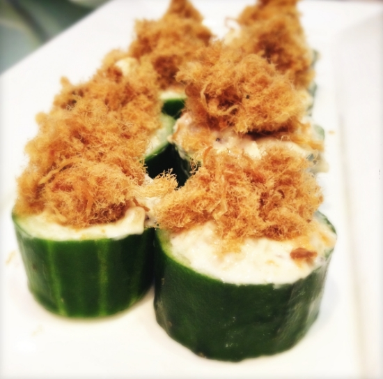 cucumber cups with chicken floss
