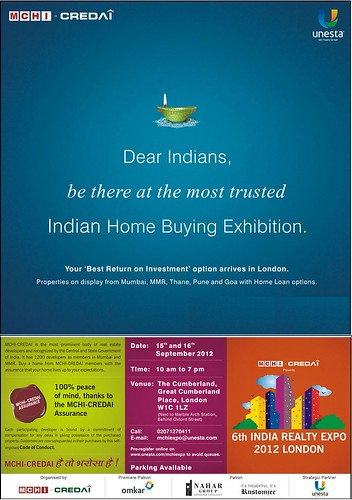 Visit MCHI-CREDAI 6th India Realty Expo on 15 & 16 Sept 2012 at Hotel Cumberland, Marbel Arch LONDON by jungle_concrete