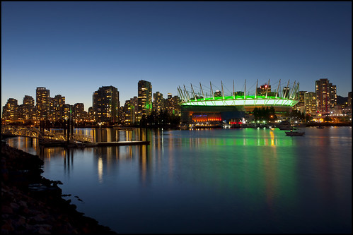 ocean blue sky canada green water skyline night vancouver reflections lights evening twilight dock bc britishcolumbia wharf falsecreek bluehour bcplace zd 1260mm olympusep1 panasonicdmwma1