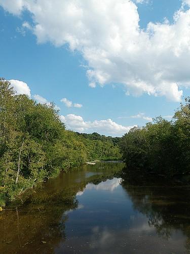 trees ohio sky creek landscape stream
