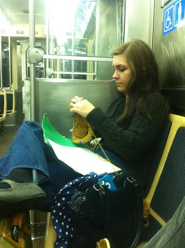 knitting on the bus