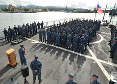 Adm. Cecil D. Haney, commander of U.S. Pacific Fleet, addresses the crew of USS Paul Hamilton Sept. 20, before the ship and crew depart for a ten month deployment.