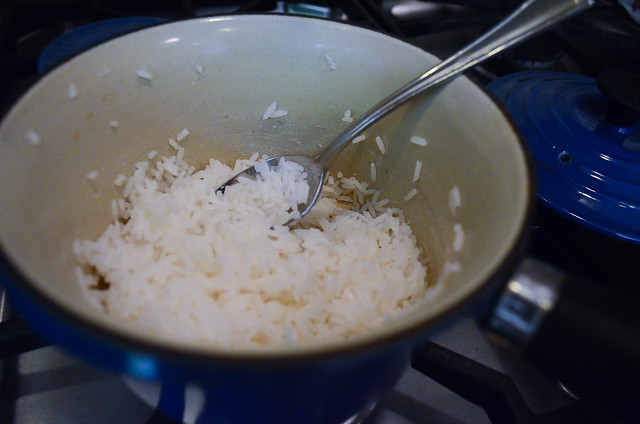 A pot of cooked rice.