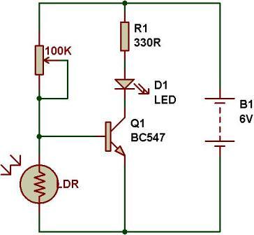 dark light sensor using transistor buildcircuit electronics rh buildcircuit com schematic diagram of light sensor circuit diagram for motion sensor light