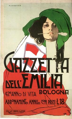 manifesto - marcello dudovich - gazzetta dell'emilia - 1904 by sonobugiardo