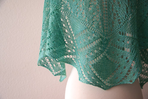 Green Peacock Shawl Knitting Pattern by Michelle Miller
