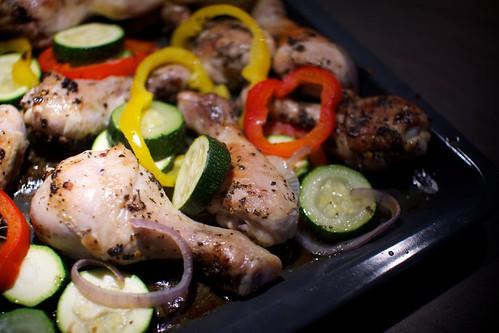 Ugnsstekt kyckling med gröndaker
