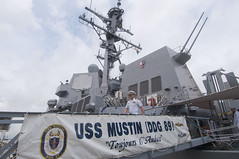 Cmdr. Joseph Ring, USS Mustin's commanding officer, departs the ship following Mustin's arrival in Port Klang, Sept. 26. (U.S. Navy photo by Mass Communication Specialist 2nd Class Devon Dow)