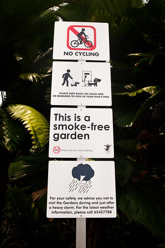 Range of signs in the Singapore Botanic Garden
