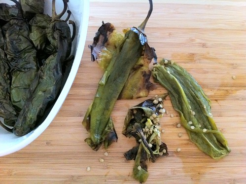 Peeling Cooled Roasted Anaheim Chiles