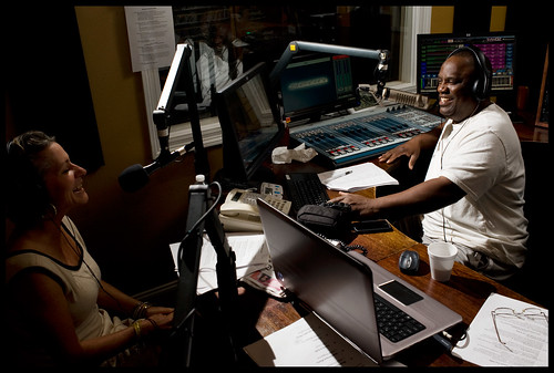 Keith Hill on air during Pledge Drive with Robin.  Photo rhrphoto.com.
