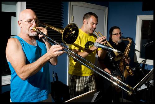 Rick Trolsen, Mike Fulton, Tim Fahey of the Lena Prima Quintet.  Photo rhrphoto.com