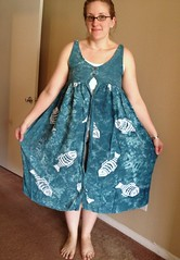 Fishy Dress-to-Skirt Refashion - Before