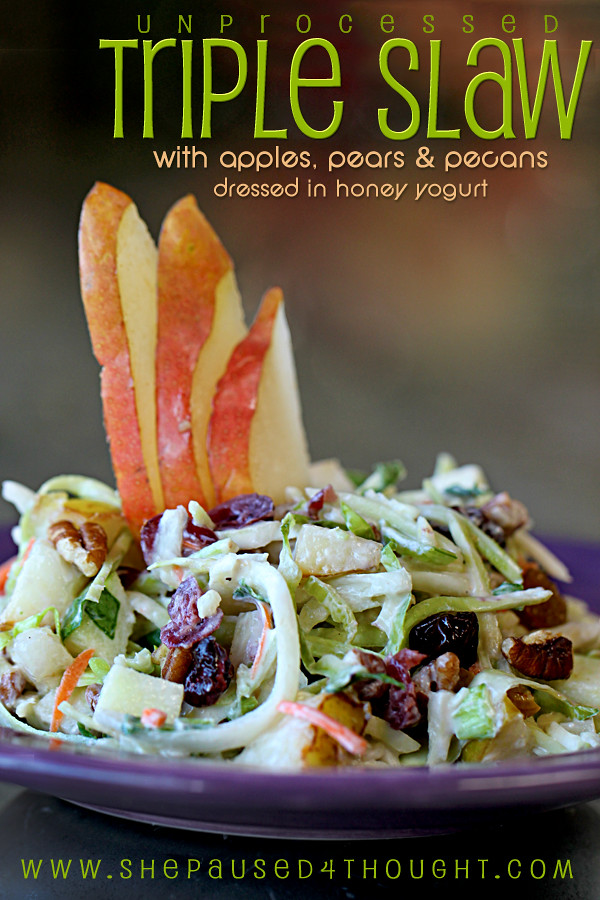 Triple Slaw with apples, pears & pecans