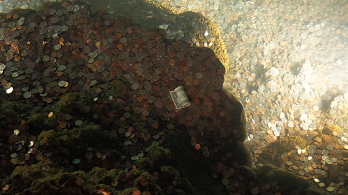 Luray Caverns - dollar bill in the wishing well