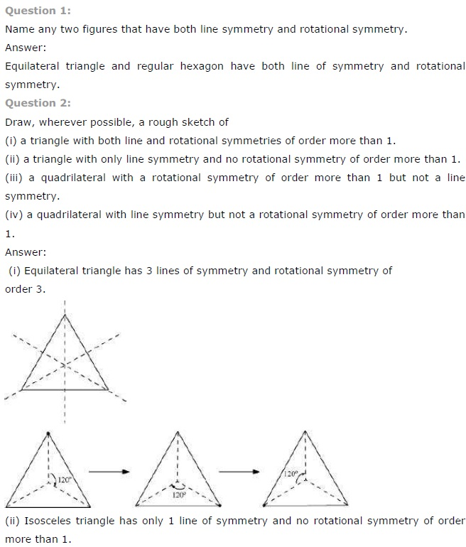 NCERT Solutions for Class 7th Maths Chapter 14 Symmetry Exercise 14.3
