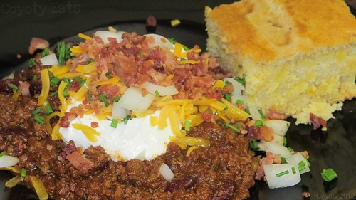 Loaded chili and cornbread by Coyoty