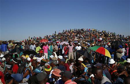 Amplats workers rally demanding a pay hike and better employment conditions. South Africa has been hit by a series of wildcat strikes for months. by Pan-African News Wire File Photos