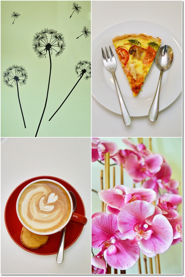Floral Motives, Chicken Quiche, Latte
