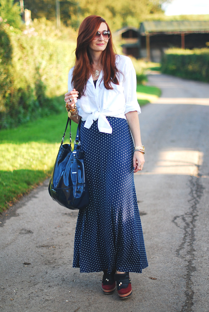 Polka Dot Maxi and Knotted Shirt