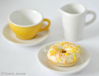 Mini lemon doughnut with sprinkles