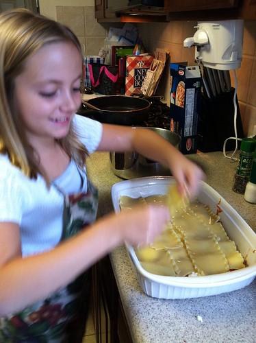Teaching my girl to make lasagna