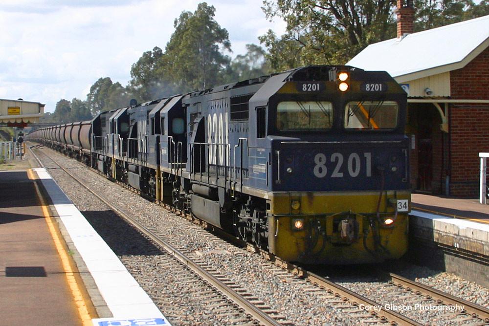 8201, 8248 & 8205 coal train through Branxton by Corey Gibson
