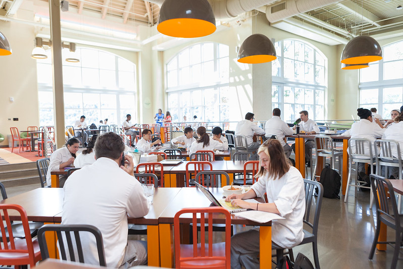 Students dining in The Egg