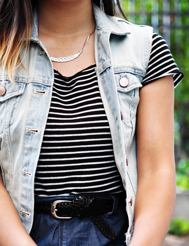 light denim H&M vest, b&w striped tee {Taiwan}, dark denim Gap skirt {Crossroads}, black suede flatforms {Free People}, black Levis belt, vintage Coach satchel {thrifted}, T400 Austrian  Crystal Necklace {c/o AliExpress powered by Alibaba}