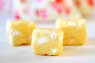 Homemade lemon meringue fudge
