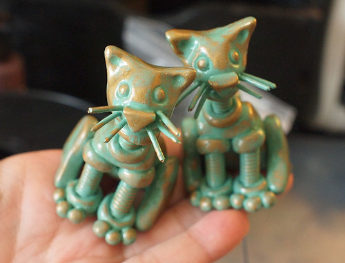 Mini Patina Garden Robot Cats by HerArtSheLoves