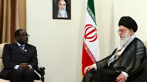 Republic of Zimbabwe President Robert Mugabe held discussions with Ayatollah Seyyed Ali Khamenei in the Islamic Republic of Iran during the 16th Non-Aligned Movement Summit on August 30, 2012. Mugabe urged NAM leaders to challenge western militarism. by Pan-African News Wire File Photos
