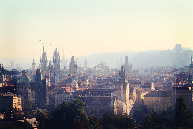 spires view prague petrin