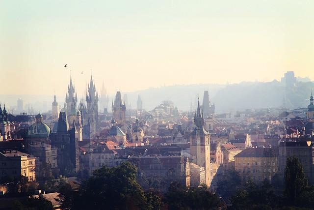 spires view prague petrin