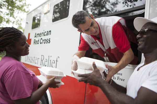 red cross feeding truck