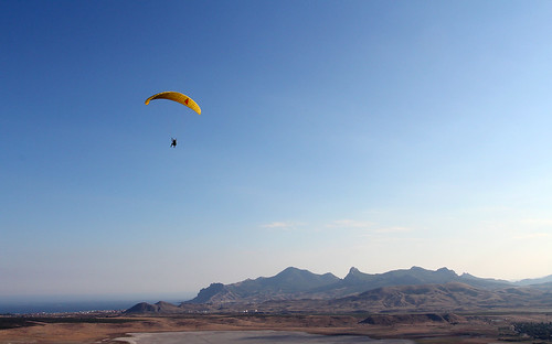 Parafoil above Koktebel's valley