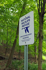 National wildlife refuge boundary sign.