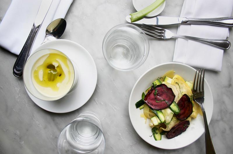 zucchini salad & white gazpacho, prune, nyc