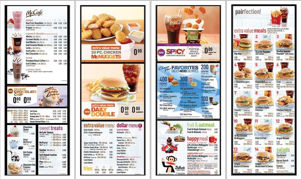 mcdonald s usa full nutritional menu board a photo on flickriver