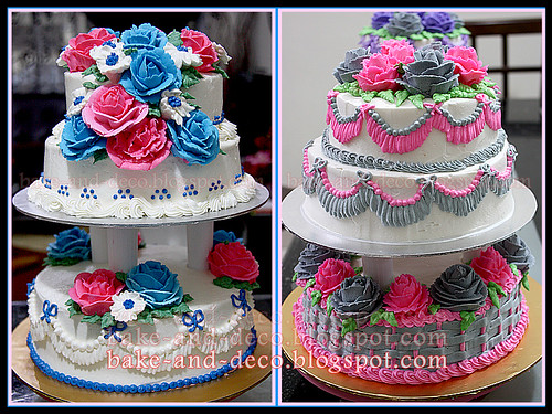 3 tier & stack buttercream cake