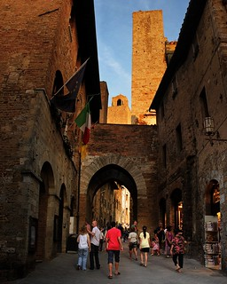 Passing the main entrance gate of San Gimignano