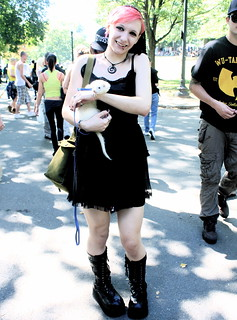 boston boston common hemp fest september 15 2012 woman with ferret
