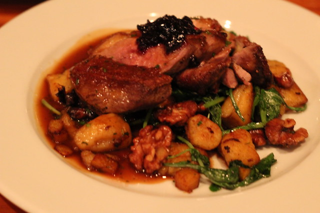 Local Duck Breast with Pumpkin Gnocchi in Sage Brown Butter at Bluebird Tavern