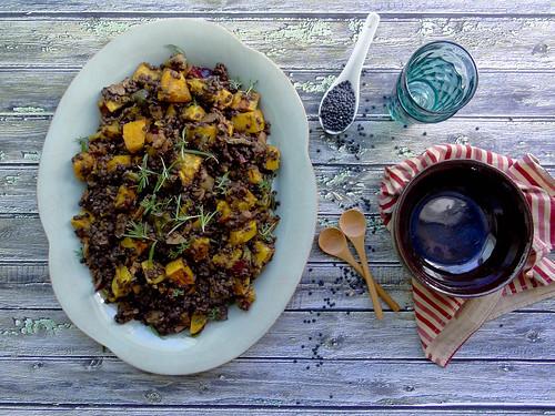beluga lentils + butternut squash
