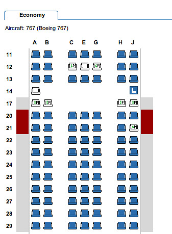 American Airlines 767 Seating Chart with MCE