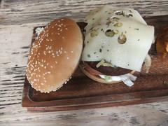 Swiss cheese mushroom burger